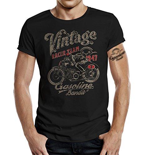 GASOLINE BANDIT Biker T-Shirt original Design: Vintage Racer Farbe schwarz-L
