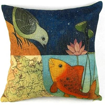 "Birds and Fish Cartoon Cotton Linen Sofa Decor Throw Pillow Covers Pillowcase Sham Decor Cushion Cover Slipcovers Square 18x18 Inch 18"" Only Cover No Insert"