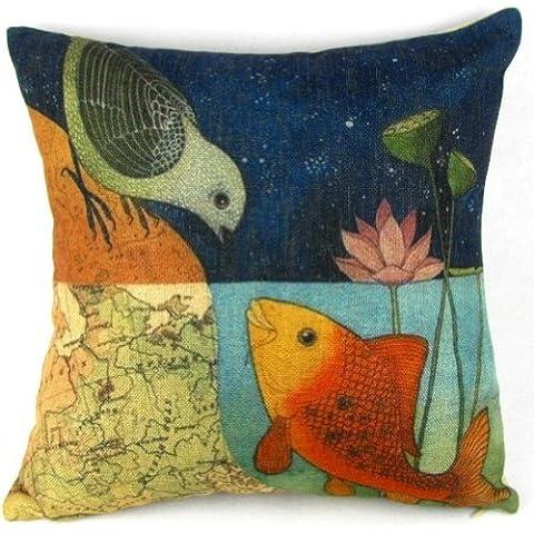 Pájaros y peces dibujos animados Lino y Algodón Sofá Decoración Throw fundas de almohada almohada Sham Decor Cojín Slipcovers cuadrado 18x 18pulgadas 18