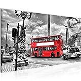 Runa Art Bilder London Bus Wandbild Vlies - Leinwand Bild XXL Format Wandbilder Wohnzimmer Wohnung Deko Kunstdrucke Rot 1 Teilig - Made in Germany - Fertig Zum Aufhängen 604712a