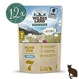 Wildes Land | Nr. 7 Huhn PUR für Kitten | 12 x 100 g | Nassfutter für Jungtiere | Getreidefrei & Hypoallergen | Extra viel Fleisch | Beste Akzeptanz und Verträglichkeit | Rohstoffe aus der Lebensmittelproduktion | Hergestellt in Deutschland