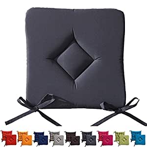 Sitzkissen Gepolstert für Stuhl/Sessel-Garten 40x 40cm, grau, 40x40x3.5cm