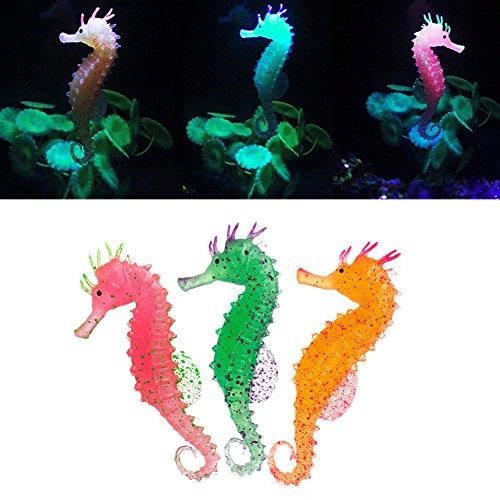 ea Horse Ornament Künstliche Hippocampus Fisch Tank Luminous Dekor Neu grün ()