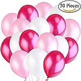 Jonami 50 Premium Ballons d'Anniversaire Gonflables.30cm Ballons de Baudruche en Latex Perlé Nacré Blanc, Rose, Fuchsia 3.2 g. Décorations de fête et Accessoires pour Anniversaire ou Mariage