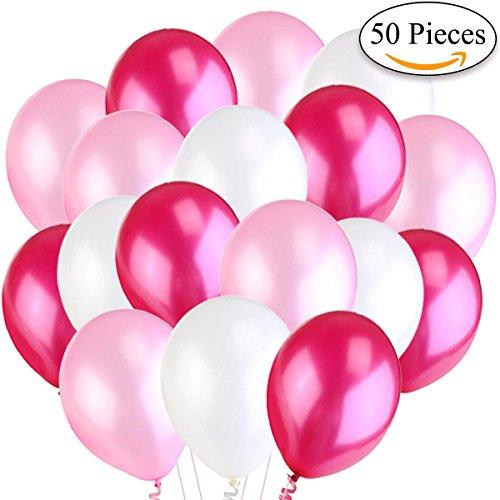 Jonami 50 Globos de Helio DE 30 cm. Globos de Látex Blancos y Rosa y Fucsia Brilante de 3,2g. Decoraciones y Accesorios para Fiestas de Boda, Cumpleaños y Bautizo