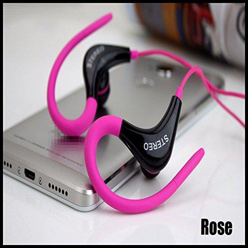 Sport Gym Kopfhörer-Ohr Ohrbügel Kopfhörer Laufen Joggen mit Mikrofon Headset (Schiff von epacket kostenlos), Rose -