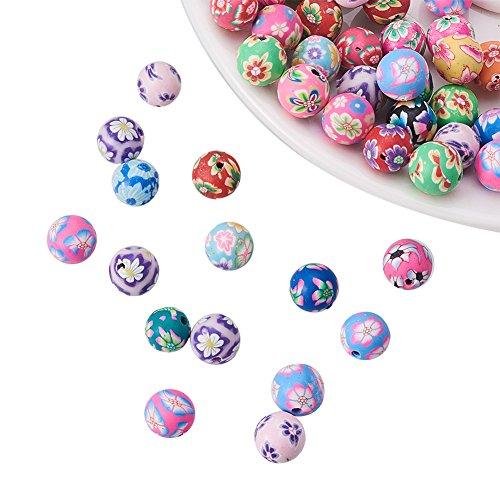 pandahall Polymer Ton Perlen Polymer Clay Beads, Rund, 8mm in Durchmesser, Gemischte Farbe - Polymer-perlen