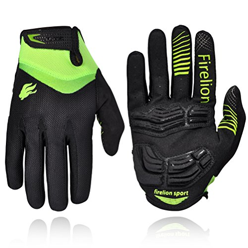 FIRELION Unisex Outdoor Gel Touch Screen Cycling Gloves Mountain Bike Bicycle MTB DH Downhill Off Road Gloves (green, large)