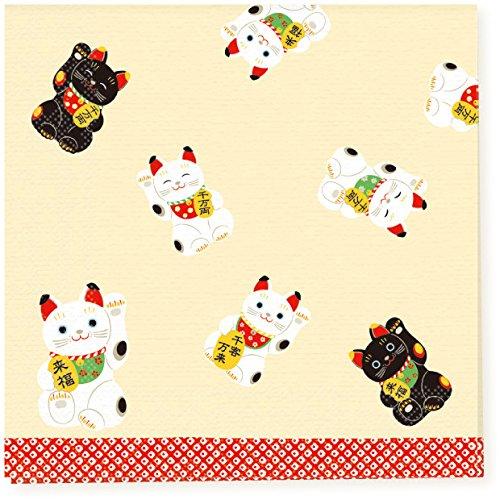 Traditionelle japanische Muster Serie Papiertuch, Serviette, 10er-Pack - Japan Import - Große Welle von Kanagawa Mount Fuji Ukiyo-e mit Karpfen PNK-041Black & Weiße Maneki Neko Glückliche Katzen PNK-045 (Glücklichen Servietten)