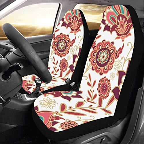 Indischen Stil Blume Kunst Benutzerdefinierte Neue Universal Fit Auto Drive Autositzbezüge Schutz Für Frauen Automobil Jeep Lkw Suv Fahrzeug Full Set Zubehör Für Erwachsene Baby (set Von 2 Vorne)