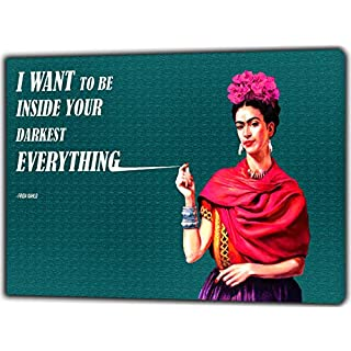 Frida and her Qoutes Photo Picture Print On Framed Canvas Wall Art Home Decor 12''x 8''inch(30x 20 cm) -18mm Depth