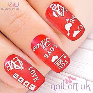 Weiß Love 3D selbstklebend Nail Art-Sticker