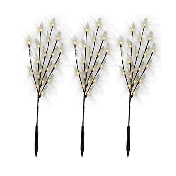 Solar Powered Tree Branch Lights for Garden Decorations with Leaf Design | Set of 3 | Fairy Decorative 60 LED for Patio, Decking, Pathway, Footpath - White 2