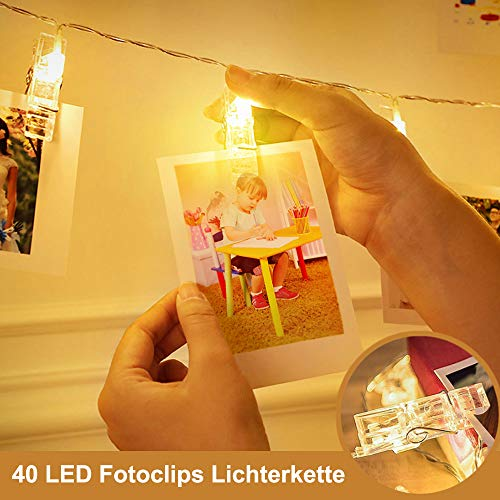hterkette,ECOWHO 8 Modi Lichterkette mit Klammern für Fotos, Warmweiß LED Lichterkette mit Fernbedienung & Timer Ideal für hängende Bilder, Foto,Weihnachten, Party, Halloween Deko ()