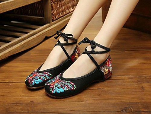 &hua scarpe ricamate, unico tendine, stile etnico, femaleshoes, moda, comodo Black