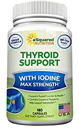 Premium Thyroid Support Supplement With Iodine (180 Capsules) - Best Herbal & Vitamin Complex w/ B12, Ashwagandha, Bladderwrack & Kelp - Helper for Healthy...