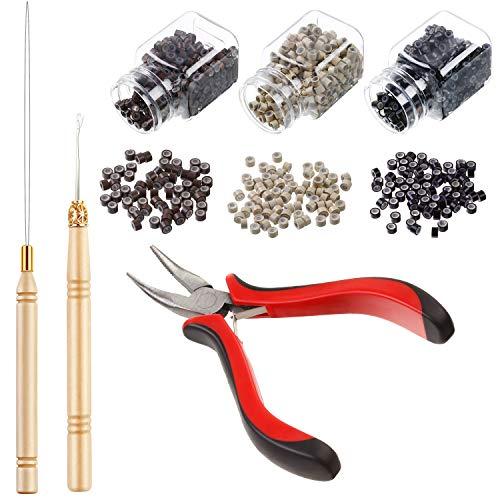 Haar Verlängerung Kit Zangen Zug Haken Perle Gerät Werkzeug Kits und 1500 Stücke Silikon Ausgekleidet Mikro Ringe (Schwarze, Blonde und Braune Perlen)