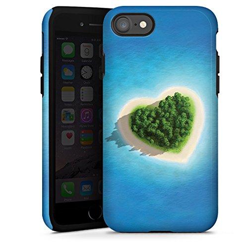 Apple iPhone X Silikon Hülle Case Schutzhülle Love Insel Muster Herz Tough Case glänzend
