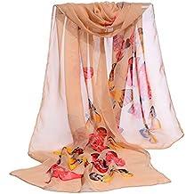 505ff19645a8 MRULIC Echarpes foulards femme Foulard 100% Soie Grande Echarpe Châle  Ultra-Léger Respirant Elégant