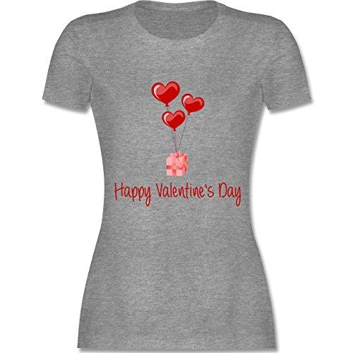 Valentinstag - Happy Valentine's Day Geschenk Herz Luftballon - tailliertes Premium T-Shirt mit Rundhalsausschnitt für Damen Grau Meliert