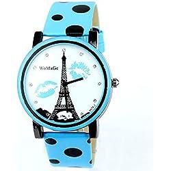 Neueste Art und Weise Turm Süßigkeit-Frauen-Uhr-Handgelenk-PU-Leder-Uhr Frauen Mode Strass