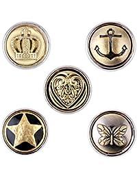 Morella® Juego de 5 adornos con botones de presión, tamaño pequeño, 12 mm de diámetro, diseño de corazón con estrella y ancla