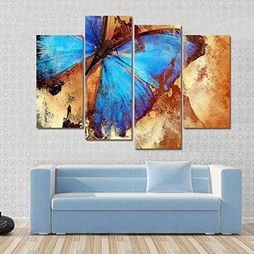 RDCHY Cuadros Lienzo 4 Piezas Mariposa Azul HD Imagen