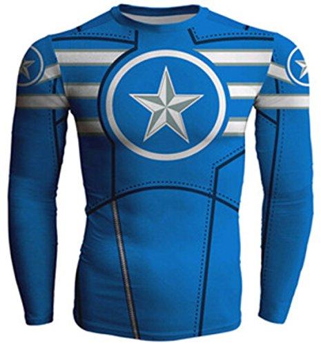 Men's Long sleeve Captain America Compression Sweatshirt White DodgerBlue