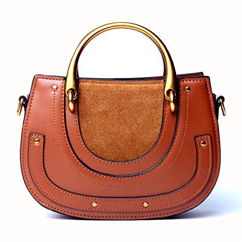 Xuanbao-HB Damen-Damenhandtasche Retro Satteltasche Leder Wildleder Ring Handtaschen Schulter Diagonal Paket Taschen Hobo Taschen -