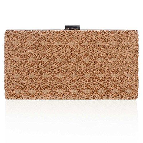 Damara® Damen Stickerei Rechteck Clutch Handtasche In Einfarbig Braun