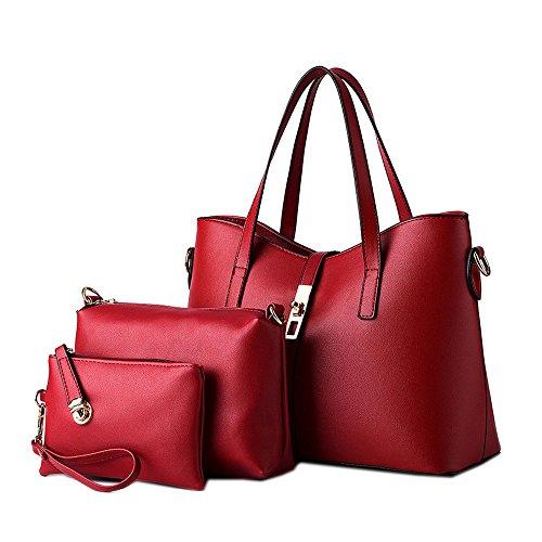 DELEY Femme Mode Élégant Sucrerie Couleur Grande Capacité Fourre-Tout Sac À Main Sac À Bandoulière Rouge Profond(3 in 1)