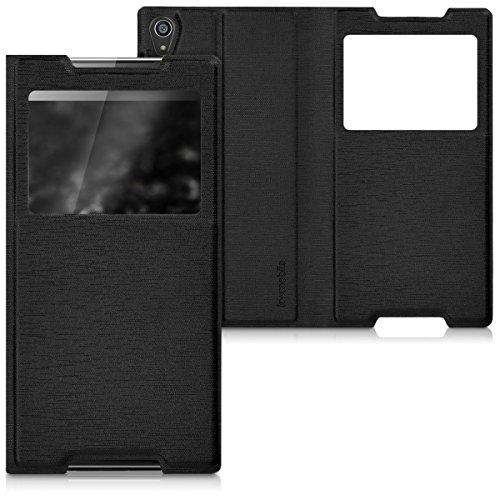 kwmobile Flip Case Hülle für > Sony Xperia Z5 Premium < mit Sichtfenster - Aufklappbare Kunstleder Schutzhülle im Flip Cover Style in Schwarz