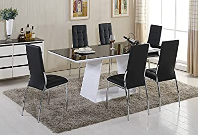 MURANO Black/White High Gloss Glass Dining Table Set and 6 Leather Chairs Seater - low-cost UK light store.