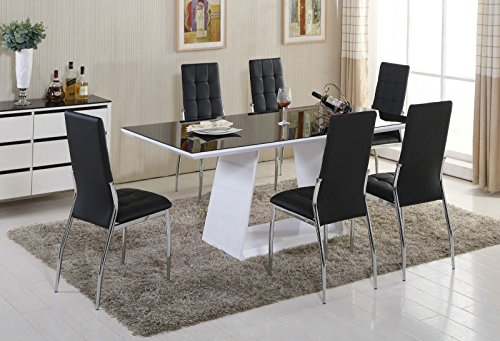 MURANO Black White High Gloss Glass Dining Table Set And 6 Leather Chairs Seater Produced By Furniturebox