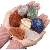 crystaltears 7Chakra Kit Raw Natural piedras en bruto Rock cristales para Tumbling, Cabbing, varios piedras, rejillas, alambre de regalo.
