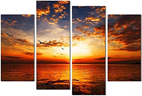 OBELLA New Top Wall Art Canvas Prints 4 Pieces || Sea Wave Landscape Painting || Modern Contemporary Posters Oil Paintings Prints and Pictures Photo Image Wall Art Prints on Canvas Painting for Home Bedroom Living Room Wall Decor Christmas Gifts Decoration - Frameless