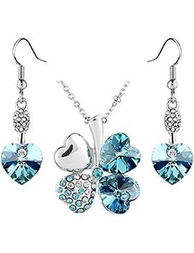Le Premium® Schmuck-Set Vier Blättern Klee Halskette+ohrring baumeln Herz geformt Swarovski Aquamarine Blau Kristalle