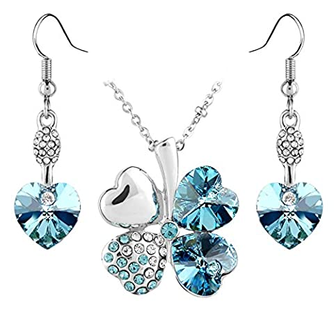 Jewelry Set Clover Pendant Necklace+Dangle Earring Heart Shaped SWAROVSKI Aquamarine Blue Crystals