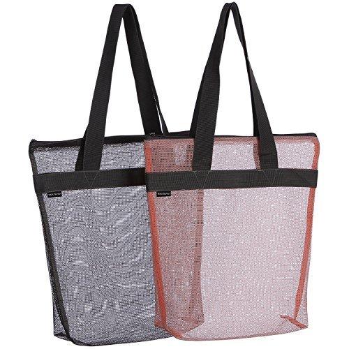 Sea Team 40,6x 30,5cm Heavy Duty wiederverwendbar Nylon Mesh Tote Handtaschen Lebensmittels Beutel Einkaufstaschen mit Reißverschluss, Set von 2 (Zippered Tote Handtasche Bag)