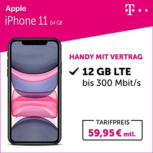 Apple iPhone 11 (schwarz) 64GB Handy mit Vertrag (Telekom Magenta Mobil M mit Smartphone) 12GB LTE 24 Monate Mindestlaufzeit