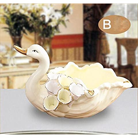 moda retrò europeo raffinato e pratico creative personalità salotto tavolino grande cigno posacenere in ceramica prodotto Decoration ( colore : 2# )