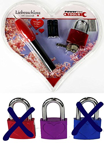 *Liebesschloss inkl. Gravierstift + Batterien zum selber gravieren, violett*