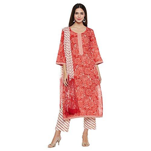 Pinkshink Cotton Red Salwar Suit Churidar Dress Material k229