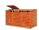 Gero metall Mülltonnenbox Holz Honigbraun für DREI 240 Liter Mülltonnen