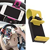 Heartly Universal Car Steering Wheel Mobile Stand Cradle Holder Smart Clip Car Bike Cell Phone Mounts For Mobile Phone - Black + Yellow