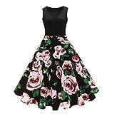 ❤️• •❤️ Luckycat Räumungsverkauf Damen Kleid mit Spitzenstickerei Vintage Spitze DREI Viertel Sleeve Hochzeit Kleid Swing Partykleid Cocktailkleid (Schwarz 006, M(AsianM=EUS))