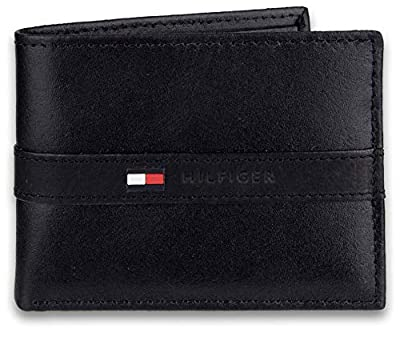 Tommy Hilfiger - Billetera para Hombre con 6 Bolsillos para Tarjetas de crédito y Ventana extraíble