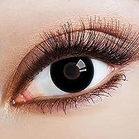 aricona Farblinsen   farbige Kontaktlinsen ohne Stärke für dein Halloween Kostüm   deckend schwarze 12 Monatslinsen   bunte Cosplay Augenlinsen   Gothic Black Eye Lens