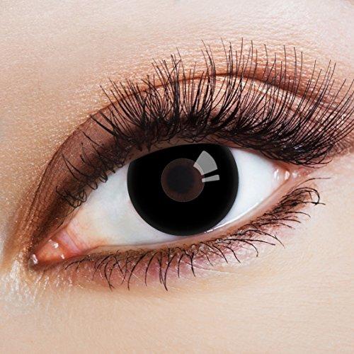 aricona Kontaktlinsen Farblinsen | farbige Kontaktlinsen ohne Stärke für dein Halloween Kostüm | deckend schwarze 12 Monatslinsen | bunte Cosplay Augenlinsen | Gothic Black Eye Lens