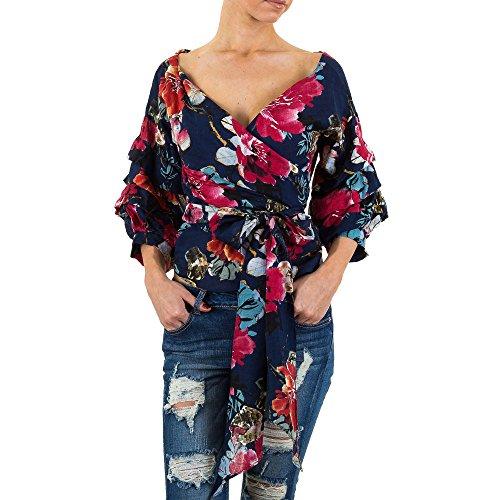 Gemusterte Volant Bluse Für Damen bei Ital-Design Blau